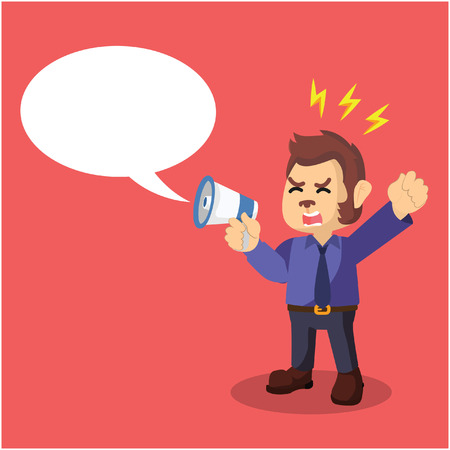 call out: business monkey yelling with megaphone and call out