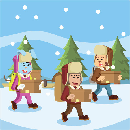 group of animal arctic explorer carrying goods Illustration