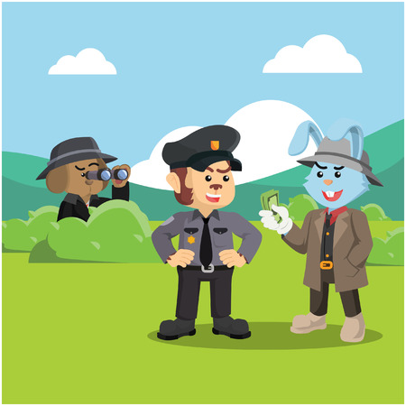 detective dog investigating corrupt police monkey Illustration