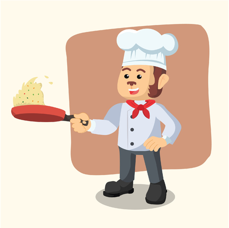 chef monkey cooking fried rice