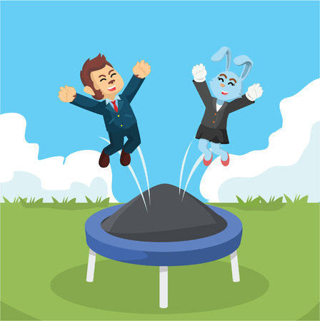 businessman jumping: business animal playing with trampoline