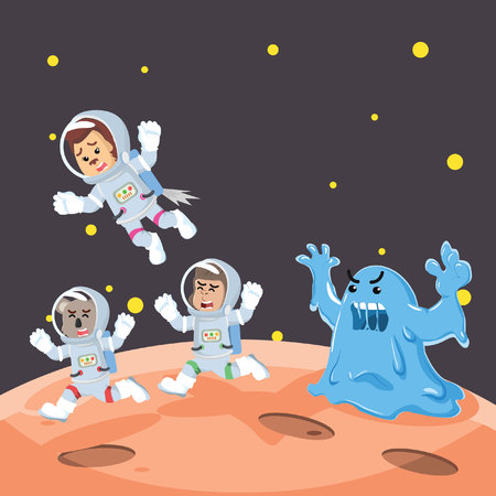 group of animal astronauts chased by slime monster