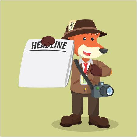 fox journalist with blank newspaper Illustration