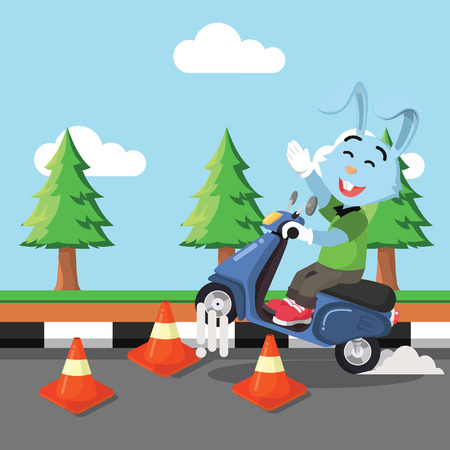 rabbit riding scooter through obstacle Illustration
