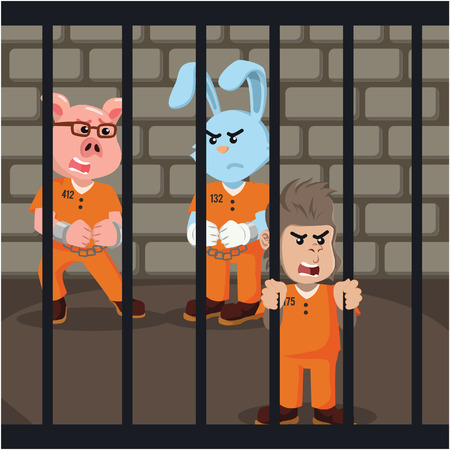 convict: group of convict animal inside prison Illustration
