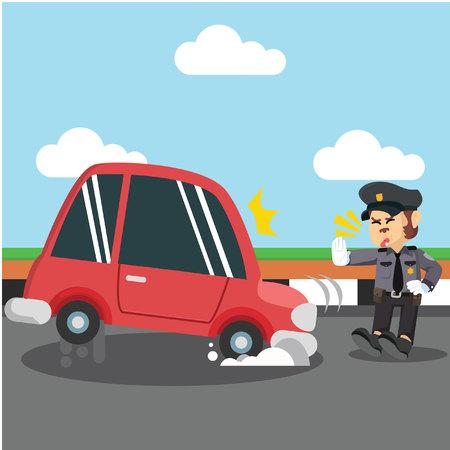 원숭이 경찰이 차를 멈췄다.