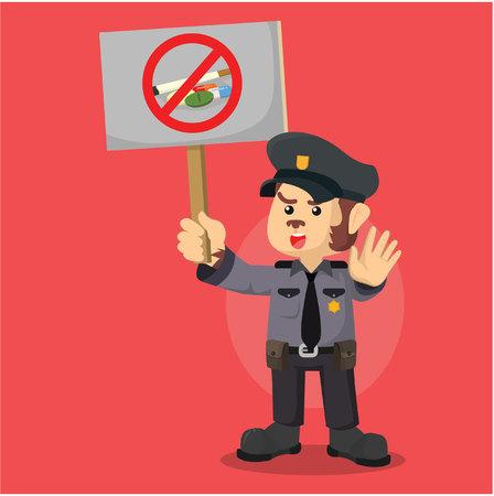 monkey police say no to drugs Illustration