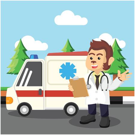 ambulancia del infront de la ambulancia del doctor del mono