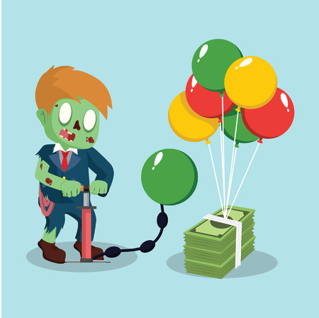 undead: zombie businessman pumping air balloon to a bundle of money
