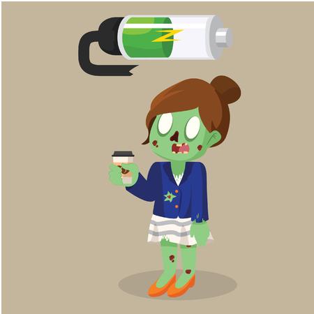 zombie businesswoman recharging battery