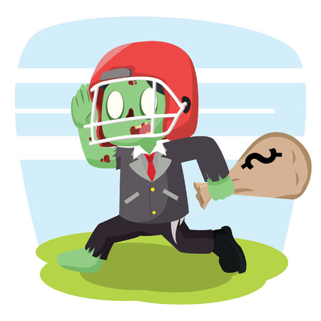 undead: zombie businessman with football helmet carry money sack