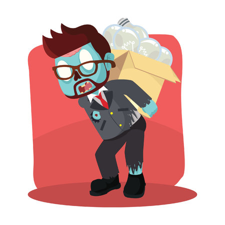 zombie businessman carrying unfunctional bulb