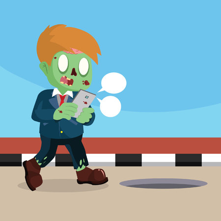 zombie businessman didnt aware of his surrounding Illustration