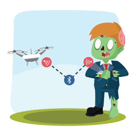 zombie businessman controlling drone with smart watch