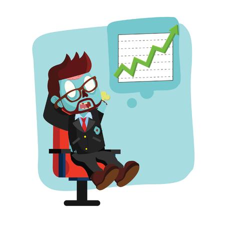 zombie businessman thinking raising graphic Illustration
