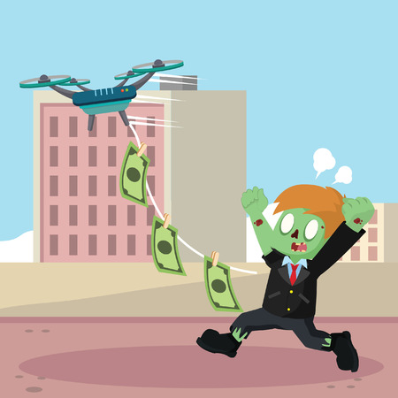 zombie drone flying carrying money in string Illustration