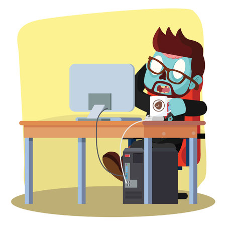 zombie businessman drinking coffee while working Illustration