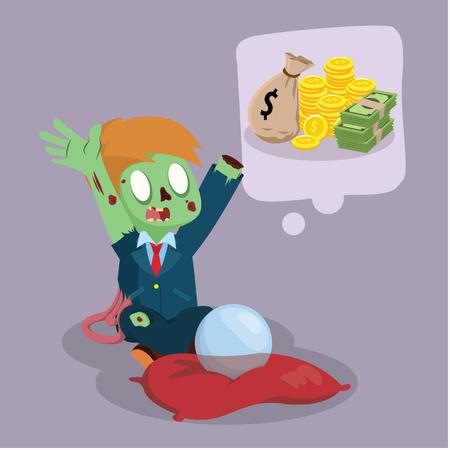 mucho dinero: zombie businessman wishing a lot of money