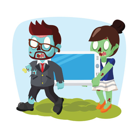 woman on phone: zombie businessman and woman carrying giant phone