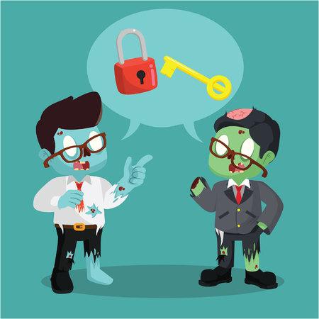 unlocking: zombie businessman chatting unlocking lock