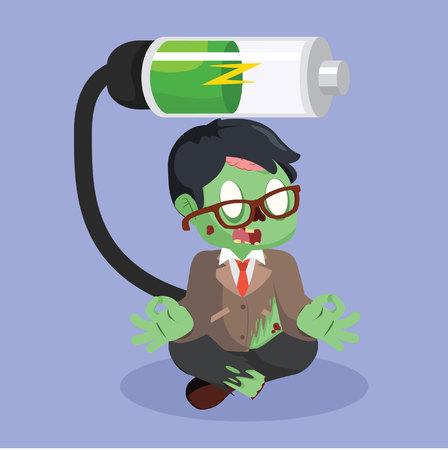 zombie businessman recharging color