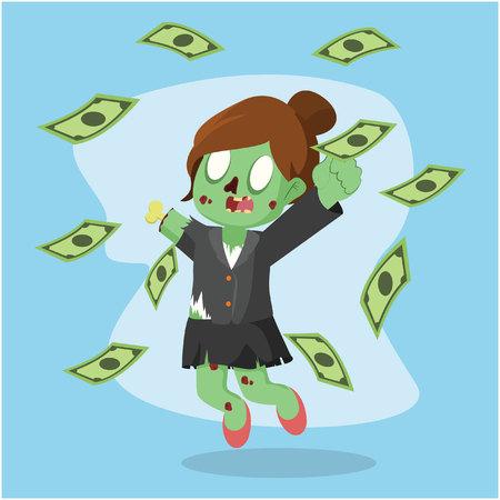 raining: zombie businesswoman raining money