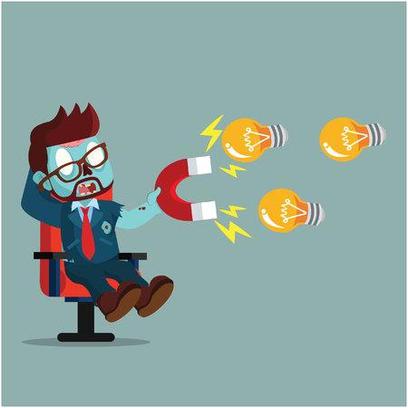 zombie businessman magnet bulb Illustration