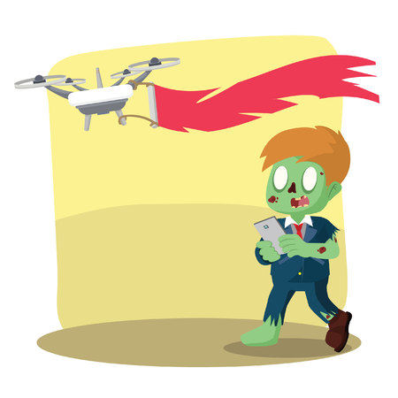 zombie drone with advertisement