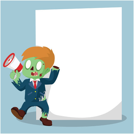 zombie businessman with giant paper