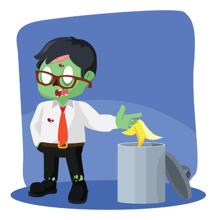ghoulish: zombie businessman throw banana peel in trash can