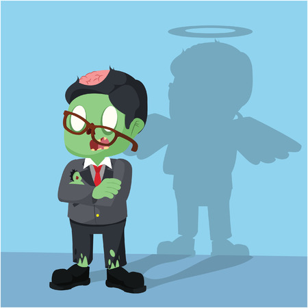 zombie businessman have angel shadow