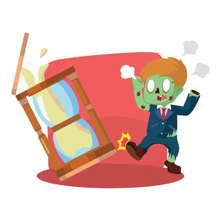 kicking: zombie businessman angry kicking hourglass Illustration