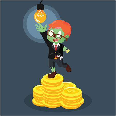 zombie businessman on coin stack