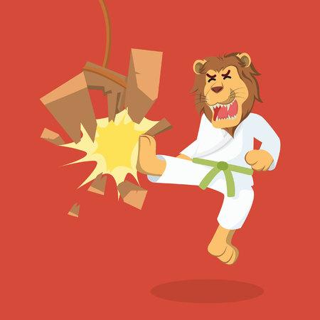 lion green belt karateka breaking board