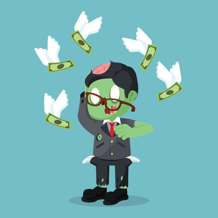 zombie businessman dont have any money in pocket Illustration