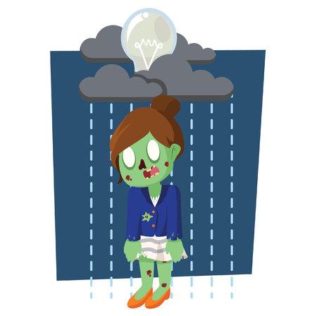 raining: zombie businesswoman with raining bulb