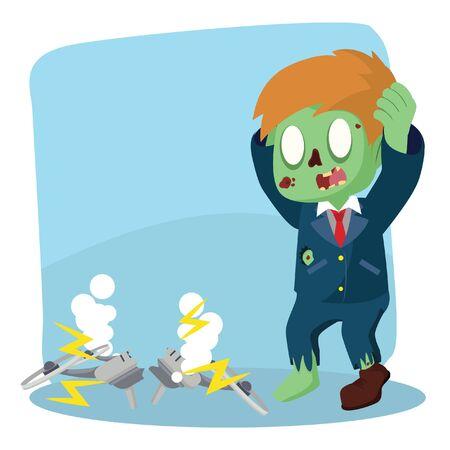 zombie businessman drone broke Illustration