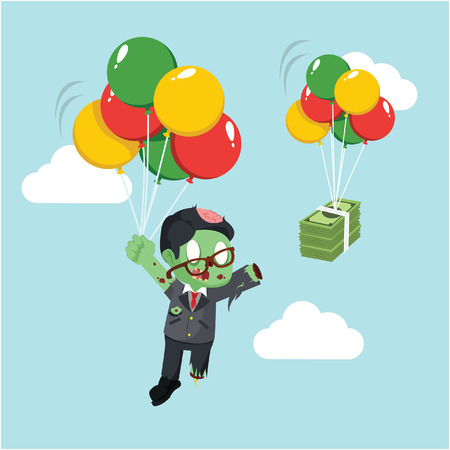 zombie businessman chasing money in sky