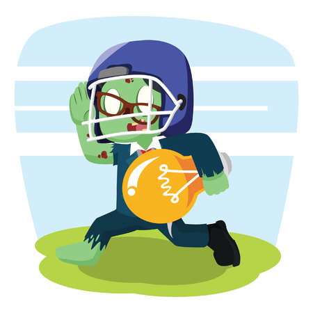 zombie businessman with football helmet carry bulb