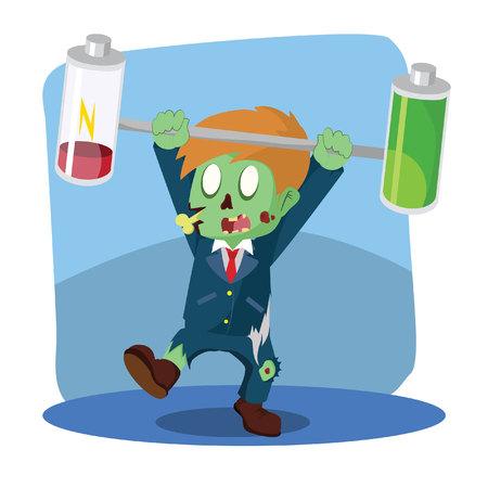 unbalanced: zombie businessman unbalanced battery Illustration
