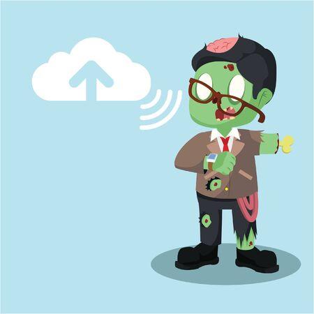 zombie businessman uploading to cloud server Illustration