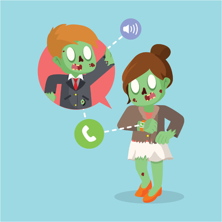 zombie businesswoman make a call with smart watch
