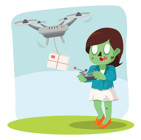 zombie businesswoman using drone for delivering mail Illustration