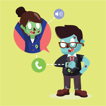zombie businessman make a call with smart watch
