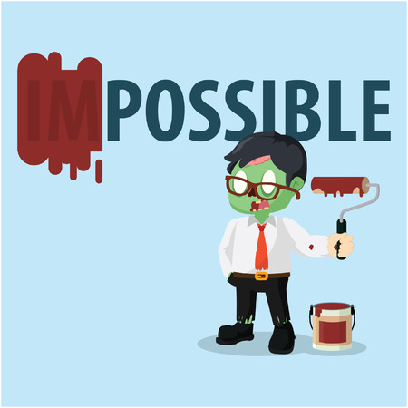 zombie businessman repainting impossible word