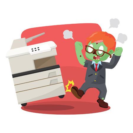 photocopy: zombie businessman angry kicking photocopy machine