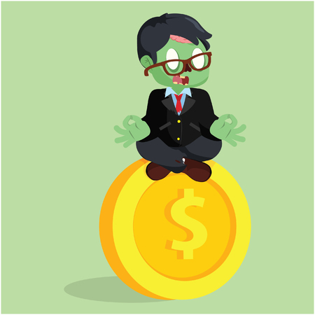 meditating: zombie businessman meditating on giant coin