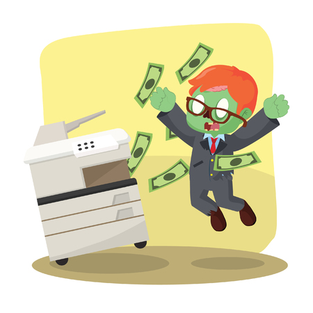 copying: zombie businessman successfully copying money Illustration