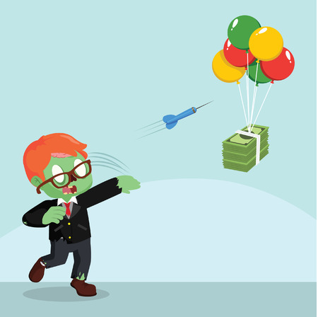 throwing: Zombie businessman throwing darts to flying money