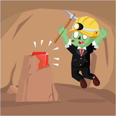 zombie businessman find a ruby in cave Illustration